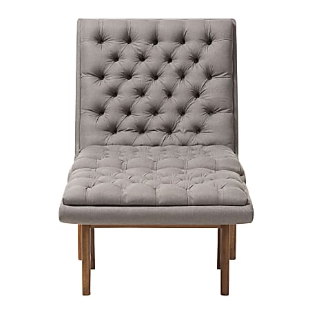 Baxton Studio Yasin Fabric Chair And Ottoman Set, Gray/Walnut