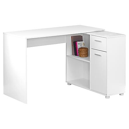 Monarch Specialties Corner Computer Desk With Storage Cabinet, White