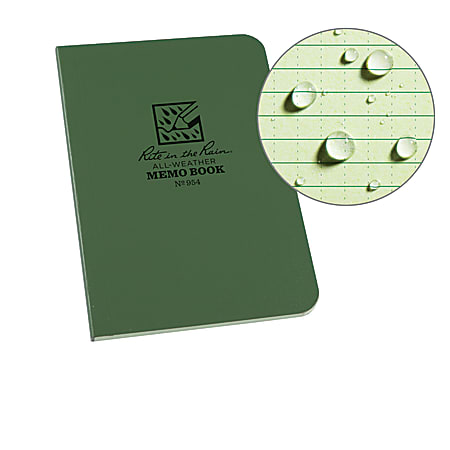 """Rite in the Rain Field-Flex Memo Notebook, 3 1/2"""" x 5"""", Universal Ruled, 112 Pages (56 Sheets), Green"""