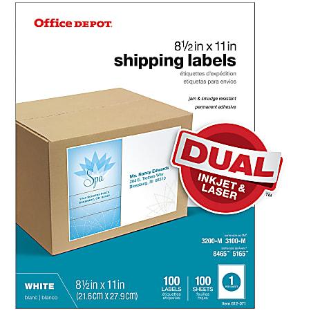 """Office Depot® Brand Inkjet/Laser Shipping Labels, White, 8 1/2"""" x 11"""", Full-Sheet, Pack Of 100"""