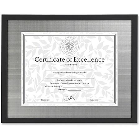 "Dax Burns Group Metal Mat Certificate Frame - 14"" x 11"" Frame Size - Rectangle - Desktop - Brushed Pewter - 1 Each - Wood, Metal - Black"