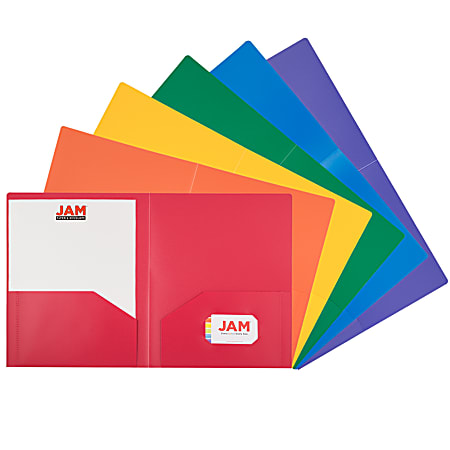 "JAM Paper® Heavy-Duty Plastic Presentation Folders, 9-1/2"" x 11-1/2"", Assorted Fashion, Pack Of 6 Folders"