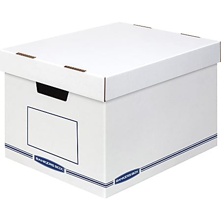 """Bankers Box Organizers Storage Boxes - External Dimensions: 12.8"""" Width x 16.5"""" Depth x 10.5"""" Height - Medium Duty - Single/Double Wall - Stackable - White, Blue - For Storage - Recycled - 12 / Carton"""