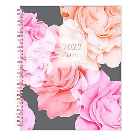"""Blue Sky™ Frosted Weekly/Monthly Safety Wirebound Planner, 8-1/2"""" x 11"""", Joselyn, January To December 2022, 110394"""