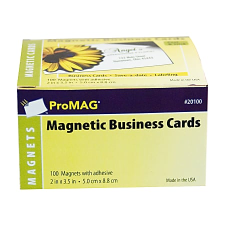 """ProMAG Magnetic Business Cards, 2"""" x 3 1/2"""", Pack Of 100"""