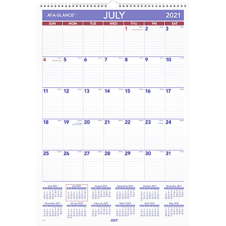 """AT-A-GLANCE® Academic Monthly Wall Calendar, 15-1/2"""" x 22-3/4"""", July 2021 To June 2022, AY328"""