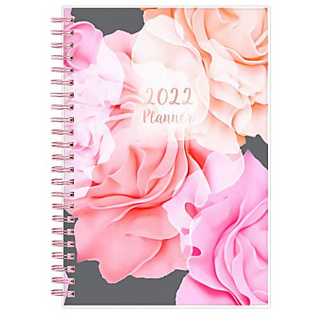 """Blue Sky™ Frosted Weekly/Monthly Safety Wirebound Planner, 5"""" x 8"""", Joselyn, January To December 2022, 110396-22"""