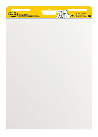 "Post-it® Super Sticky Easel Pad, 25"" x 30"", White, Pad Of 30 Sheets"