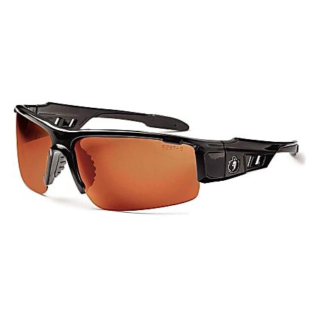 Ergodyne Skullerz® Safety Glasses, Dagr, Polarized, Black Frame, Copper Lens