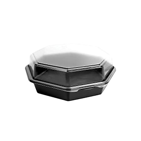 """Solo® Creative Carryouts OctaView Plastic Hinged Containers, 9-5/8""""H x 9-1/4""""W x 3-1/4""""D, Black/Clear, Pack Of 100 Containers"""