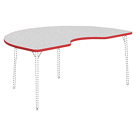 """Lorell® Classroom Kidney-Shaped Activity Table Top, 72""""W x 48""""D, Gray Nebula/Red"""