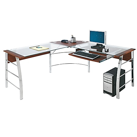 "Realspace® Mezza 62""W L-Shaped Desk, Cherry/Chrome"