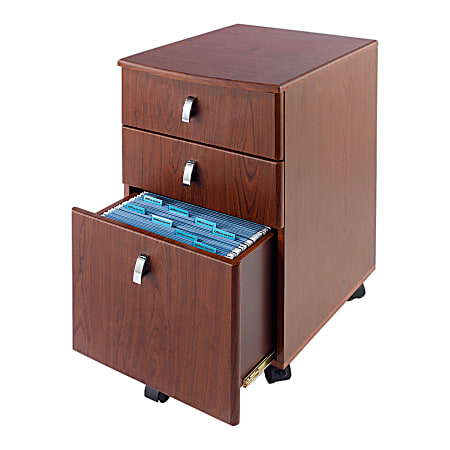 """Realspace® Mezza 19""""D Vertical 3-Drawer Mobile File Cabinet, Cherry/Chrome"""