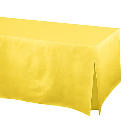 "Amscan Flannel-Backed Vinyl Fitted Table Cover, 27""H x 31""W x 72""D, Yellow Sunshine"