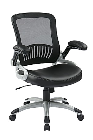 Office Star™ Work Smart™ Mesh/Bonded Leather Mid-Back Chair, Black/Silver