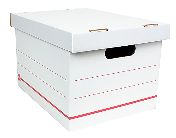 """Office Depot® Brand Standard-Duty Corrugated Storage Boxes, Letter/Legal Size, 15"""" x 12"""" x 10"""",  60% Recycled, White/Red, Case Of 10"""