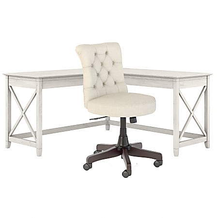 """Bush Furniture Key West 60""""W L-Shaped Desk With Mid-Back Tufted Office Chair, Linen White Oak, Standard Delivery"""