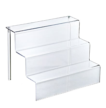 "Azar Displays 3-Tier Step Display Stands, 8 3/4""H x 12""W x 8 1/2""D, Clear, Pack Of 4"