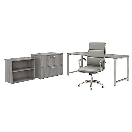 """Bush Business Furniture 400 Series 72""""W x 30""""D Table Desk And Chair Set With Storage, Platinum Gray, Premium Installation"""