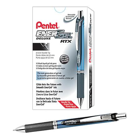Pentel® EnerGel™ Deluxe RTX Retractable Liquid Gel Pens, Fine Point, 0.5 mm, 54% Recycled, Blue Barrel, Black Ink, Pack Of 12 Pens