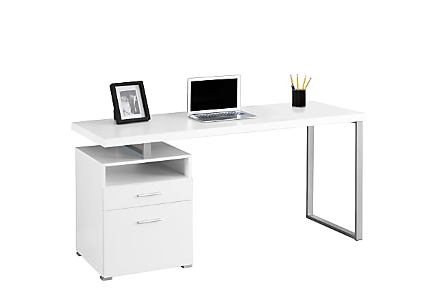Monarch Specialties Contemporary Computer Desk With 2-Drawers And Open Shelf, Silver/White