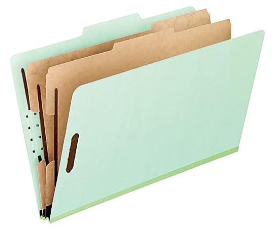 "Pendaflex® Pressboard Classification Folders, 8 1/2"" x 11"", Letter Size, 2 Dividers, 30% Recycled, Corona Green, Box Of 10"