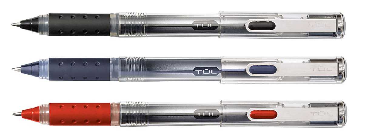TUL® RB1 Rollerball Pens, Fine Point, 0.5mm, Silver Barrel, Assorted Inks, Pack Of 4