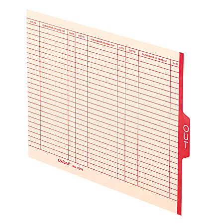 """Pendaflex® End-Tab """"Out"""" Cards, Letter Size, Manila/Red, Pack Of 100 Cards"""