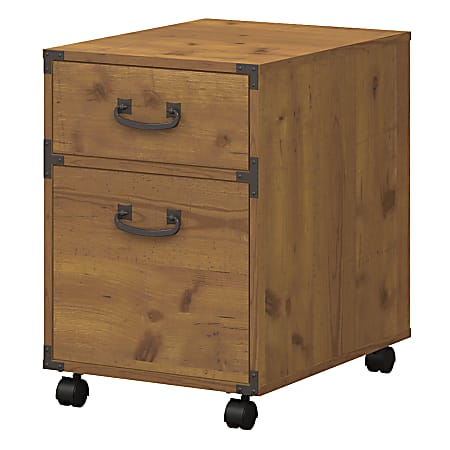"kathy ireland® Home by Bush Business Furniture Ironworks 15-1/2""W Lateral 2-Drawer Mobile Pedestal Cabinet, Vintage Golden Pine, Standard Delivery"