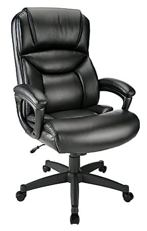 Realspace® Fennington Bonded Leather High-Back Executive Chair, Black
