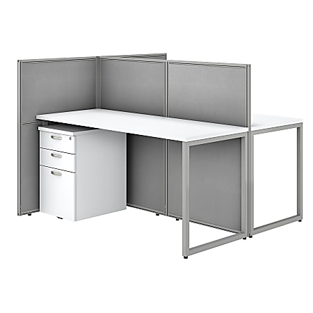 """Bush Business Furniture Easy Office 60"""" 2-Person Straight Desk With File Cabinets And 45""""H Panels, Pure White/Silver Gray, Premium Installation"""