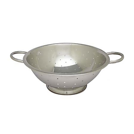 """Winco Stainless-Steel Colander, 5 Qt, 12"""", Silver"""