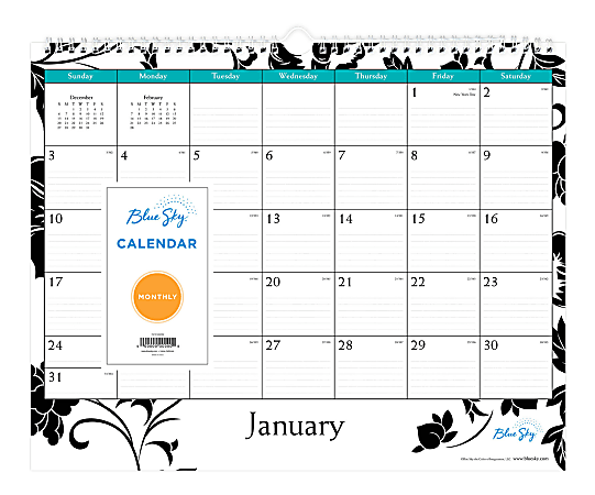 """Blue Sky™ Monthly Wire Wall Calendar, 12"""" x 15"""", Barcelona, January To December 2021, 100026"""
