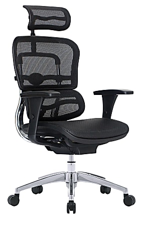 WorkPro® 12000 Mesh Series High-Back Executive Chair With Headrest, Black/Chrome
