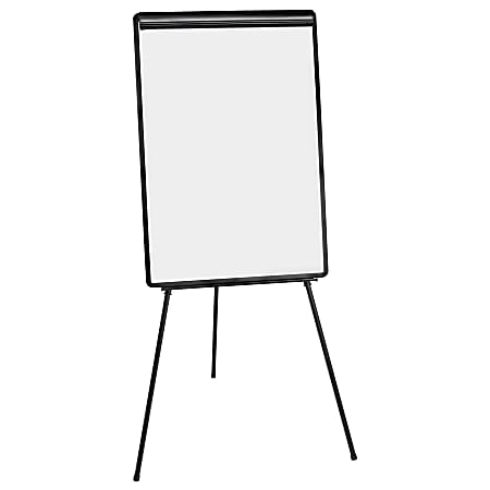"MasterVision® Easy Clean Tripod Non-Magnetic Dry-Erase Whiteboard Presentation Easel, 71 1/2"", Steel Frame With Black Finish"