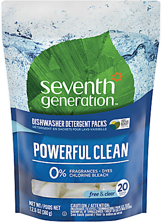 Seventh Generation® Natural Dishwasher Detergent Packs, 20 Packs Per Pouch, Carton Of 12 Pouches