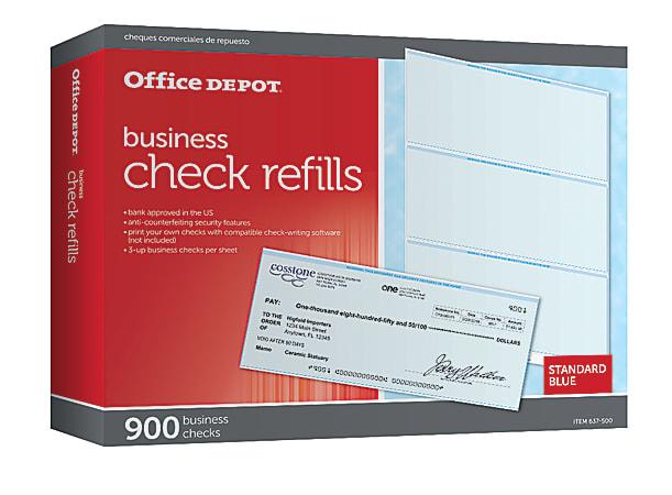 Office Depot® Brand Standard Blue Business Check Refills, Box Of 900