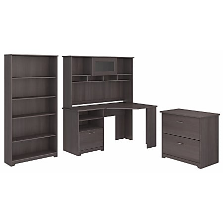 "Bush Furniture Cabot 60""W Corner Desk With Hutch, Lateral File And 5-Shelf Bookcase, Heather Gray, Standard Delivery"