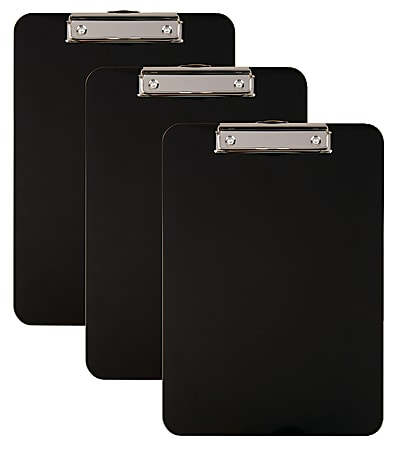 """Office Depot® Brand Acrylic Clipboard, 9"""" x 12-1/2"""", Black, Pack Of 3"""