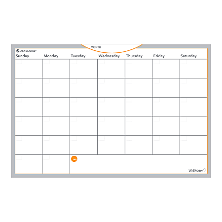 """AT-A-GLANCE® WallMates™ Non-Magnetic Dry-Erase Whiteboard Calendar Surface, 12"""" x 18"""", Monthly Undated"""