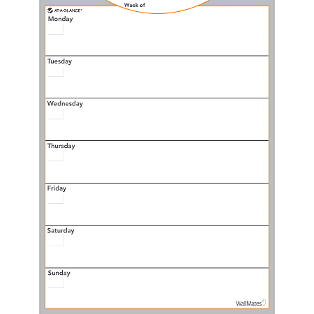 """AT-A-GLANCE® WallMates™ Non-Magnetic Dry-Erase Whiteboard Calendar Surface, 24"""" x 18"""", Weekly Undated"""