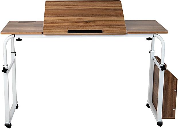 "Mind Reader 44""W Adjustable-Height Over Bed Table Desk, White"