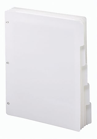 """Smead® 3-Ring Binder Index Dividers, 5-Tab, 11"""" x 8 1/2"""", White, Pack Of 20 Sets"""