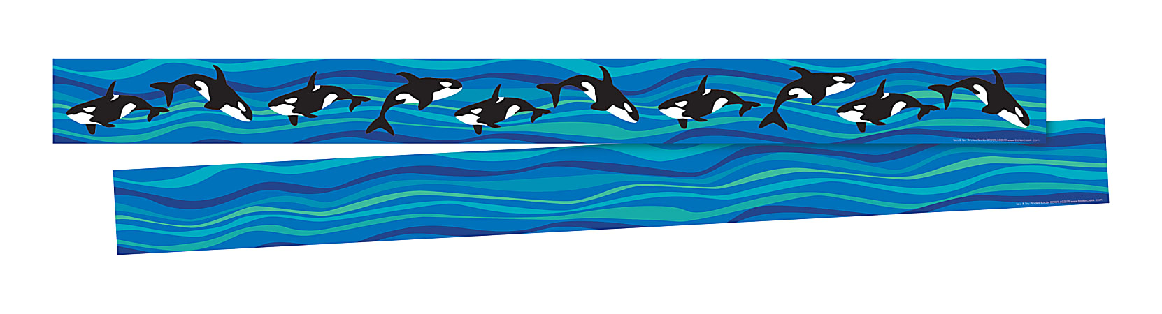 """Barker Creek Double-Sided Borders, 3"""" x 35"""", Sea & Sky Whales, 12 Strips Per Pack, Set Of 2 Packs"""