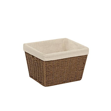 Honey-Can-Do Paper Rope Storage Tote With Liner, Medium Size, Brown