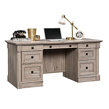 "Sauder® Palladia 66""W Double-Pedestal Executive Desk, Split Oak"