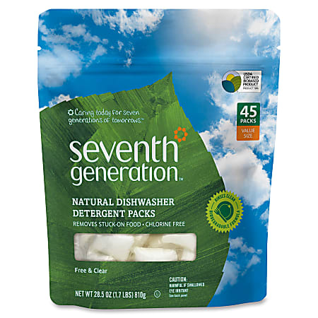 Seventh Generation Dishwasher Detergent - Concentrate - 0.02 oz (0 lb) - 45 / Packet - 1 / Pack - Clear