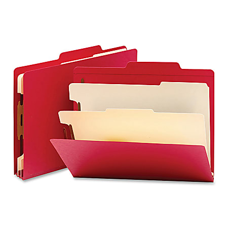 """Smead® Top-Tab Color Classification Folders, Letter Size, 2"""" Expansion, 2 Dividers, Red, Box Of 10"""