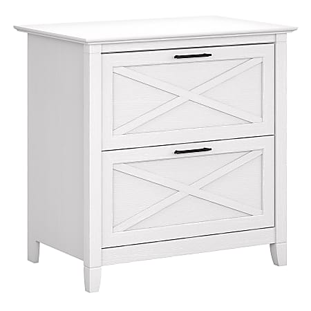 """Bush Business Furniture Key West 30""""W Lateral 2-Drawer File Cabinet, Pure White Oak, Standard Delivery"""
