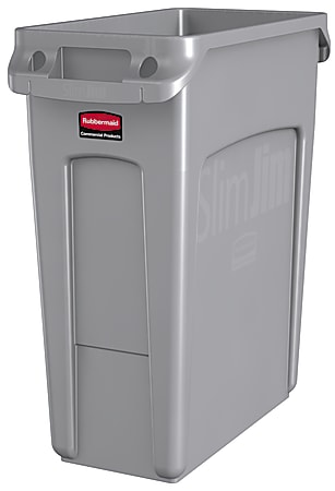 """Rubbermaid® Slim Jim® Rectangular Plastic Vented Waste Container, 16 Gallons, 25""""H x 11""""W x 22""""D, Gray"""